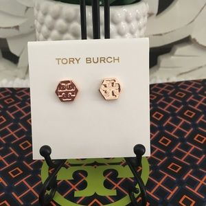 New Tory Burch Hex Stud Earrings Rose Tone Gold